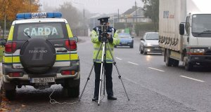 Garda Joe Mc Loughney with a speed gun in Cork. The latest report into the penalty point system showed some superintendents acted outsidepolicy in cancelling points.