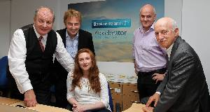 Gavin Duffy and Sean O'Sullivan from Dragon's Den (left) at the Bank of Ireland Accelerator programme for SMEs at Penrose Wharf Business Centre, Cork. Picture: Jim Coughlan