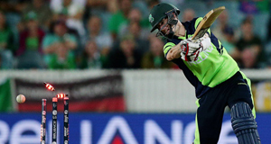 Ireland's George Dockrell is out bowled during their Cricket World Cup Pool B match against South Africa in Canberra, Australia. Picture: Rob Griffith