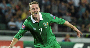 Aiden McGeady celebrates after scoring against Georgia during Ireland's opening Euro 2016 Group D qualifier in Tbilisi last September.