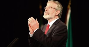 Gerry Adams delivers his keynote address during the second day of the Sinn Féin Ard Fheis in Derry. Picture: Stephen Kilkenny/Photocall Ireland