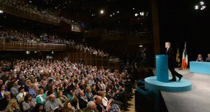 Sinn Féin president Gerry Adams delivers his keynote speech during the Sinn Féin Ard Fheis at the Millenium Forum, Derry. Picture: Niall Carson/PA Wire