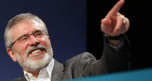 Gerry Adams at the SF Ard Fheis this evening. Picture: PA