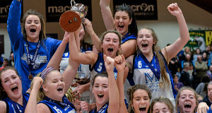 Glanmire celebrate their U18 victory over DCU in the Women's U18 National Cup final at the Basketball Arena, Tallaght.