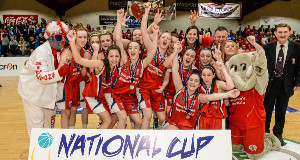 CHAMPIONS: Singletons Supervalu Brunell celebrate their victory over Glanmire  in the Women's U20 National Cup final  at the National Basketball Arena.