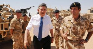 Gordon Brown meets British soldiers at Camp Bastion in Lashkar Gah in Afghanistan today.