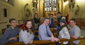 English teacher Jeremy Meehan with students in the chapel at Griffith College, Wellington Rd, Cork.Picture: Dan Linehan