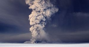 In this photo taken last Saturday, smoke plumes from the Grimsvotn volcano