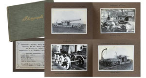 An album of mounted photographs sowing the daily progress of the building of a 54-tonne trolley wagon for a rail gun at Gateshead Works dated September 13, 1914. The 47 photographs are estimated at €1,000-€1,500.