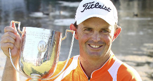 Greg Chalmers with the Australian PGA trophy in 2011