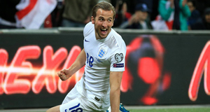 Harry Kane celebrates scoring England's fourth goal against Lithuania in last night's European Qualifying Group E match at Wembley Stadium. Picture: Nick Potts