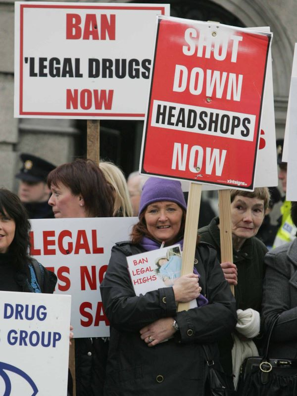 People and groups from around the country protest outside the Dail over Headshops and legal drugs.