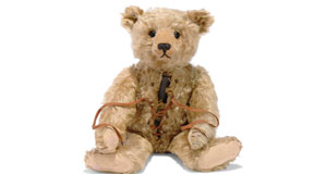 Steiff lace-up, hot-water bottle bear with boot button eyes in mohair, c.1910. Part of an unparalleled collection of Steiff, once owned by disgraced US hedge-fund manager Paul Greenwood. This fellow sold at auction for €26,000 in 2010.