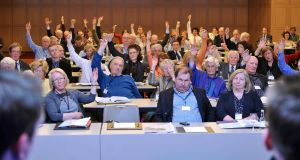 IMO delegates vote on a motion at their conference in Killarney. Picture: Don McMonagle.