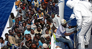 Migrants being rescued earlier this week.