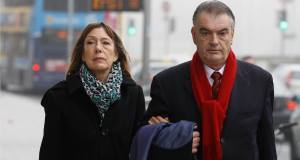 Ian Bailey and his partner Jules Thomas arriving at the High Court in Dublin yesterday.