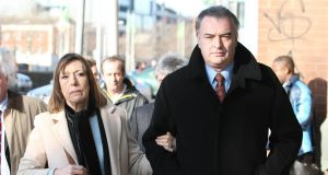 Ian Bailey and partner Jules Thomas outside the Supreme Court in Dublin yesterday.