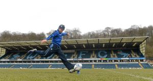 Ian Madigan practicing his goal kicking.