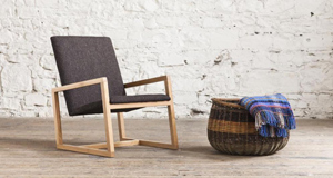 The notion of a soft, yielding lounge chair is contradicted by the clean lines of the modern but very comfortable Stanley lounge chair by Horizon Furniture, with upholstery input by Molloy & Sons (€1,100).