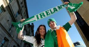 Sister and Brother Emma and Mark Sanders from Portstewart, Derry suuporting Ireland today. Pics: Inpho