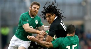 Gordon D'Arcy and Rob Kearney with Ma'a Nonu of New Zealand. Picture: INPHO/Ryan Byrne