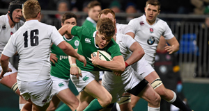 Garry Ringrose, Ireland, attempts to break through the England defence.