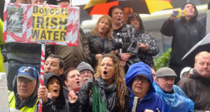 Protesters against water charges during the visit of Taoiseach Enda Kenny to Blackpool Retail Park in Cork.
