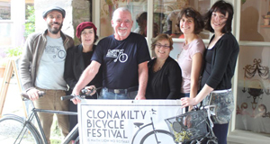 Open road: Multi-skilled Jack Kelleher is also mechanic for the Clonakilty Bike Festival. He is seen here, centre, with committee members (l-r): Justin Grounds, Cathy Sharma, Majella Deasy, Alison Roberts and Angela Larkin.
