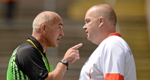 Referee Eugene O'Hara in coversation with Armagh manager James Daly, July 2014.