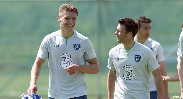 Jeff Hendrick (left) and Wes Hoolahan at squad training in Malahide this week. Picture: INPHO/Donall Farmer