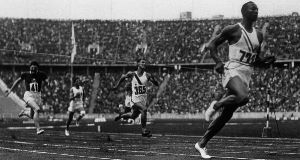Jesse Owens wins Olympic gold in the 100m for men 1936.