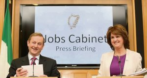 Taoiseach Enda Kenny and Tánaiste Joan Burton speaking about jobs after a special Cabinet meeting, in Government Buildings. Picture: Sam Boal/Photocall Ireland
