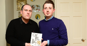 John Kierans and Jonathon Brennan at home in Drogheda. They are 'hurt and angry' after firm refused to print invites. Picture: Ciara Wilkinson