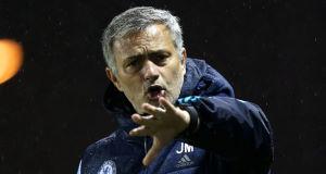 Mourinho on the sidelines last night.