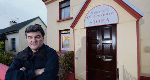 Justin Horgan outside the small shop in Ardfert, Co Kerry, owned and run by his 73 year old uncle, Jimmy Collins, which was broken into for the third time in recent months this week.