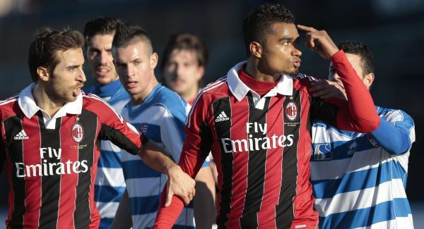 Kevin-Prince Boateng, right, is flanked by his teammate Mathieu Flamini as he gestures towards the crowd prior to leaving the pitch.Picture: AP