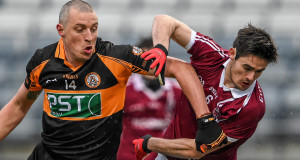 Kieran Donaghy, Austin Stacks, in action against Chrissy McKaigue, Slaughtneil today. Picture: Sportsfile