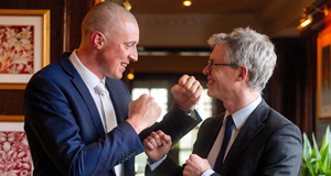 Kieran Donaghy squares up to Joe Brolly at an Austin Stacks fundraiser. Picture: Sportsfile