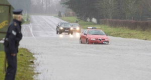 Flooding on the Dublin Road (R445) outside Newbridge in Co Kildare. Picture: PHOTOCALL