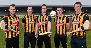 Kilkenny players, from left, Jackie Tyrell, Eoin Larkin, captain Joey Holden, Paul Murphy and Colin Fennelly at the Glanbia Agri/Gain sponsorship launch at Nowlan Park, Kilkenny. Picture: Matt Browne