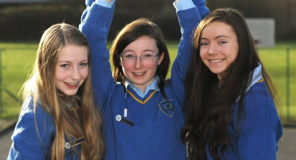 Kinsale Community School students Emer Hickey, Ciara Judge, and Sophie Healy-Thow who scooped top prize in this year's BT Young Scientist competition. Picture: Des Barry