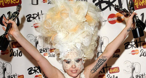 Lady Gaga with her three awards for International Album, International Female Solo Artist and International breakthrough act at the Brit Awards.