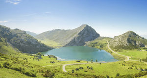 Lake Enol and mountains at Los Picos de Europas National Park in northern Spains offers mindboggling views for miles.