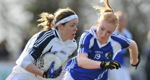 Michelle Carey, Kildare, in action against Patricia Fogarty, Laois. Picture: SPORTSFILE