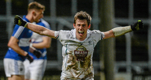 Kildare's Emmet Bolton celebrates scoring the winning goal late in their Division 2 game with Laois in Portlaoise. Picture: Sportsfile