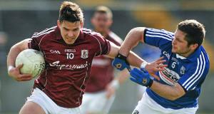 Sean Denvir, Galway, in action against Robbie Kehoe, Laois. Picture: Sportsfile