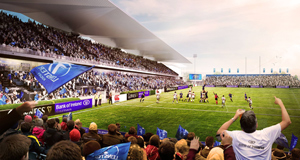 An artist impression of the rear view of the redeveloped RDS Arena during a rugby game. The home of one of Europe's top rugby clubs has secured the green light for a €20 million redevelopment.