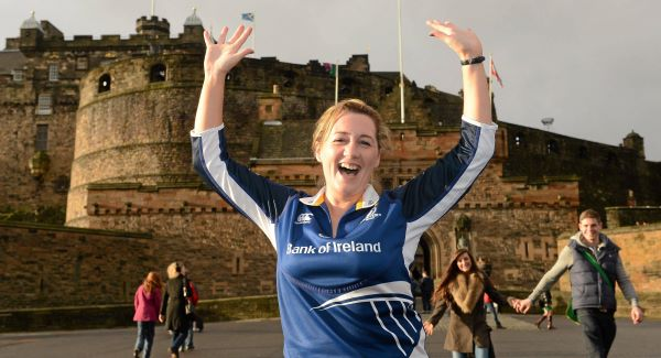 Leinster supporter Denise McGuinness, from Dundalk, at Edinburgh Castle ahead of tonights' clash.Picture: SPORTSFILE