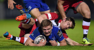 Steve Crosbie, Leinster, in action against Tom Heathcote, Edinburgh. Picture: SPORTSFILE