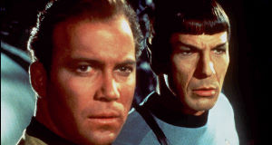 Leonard Nimoy as Spock (right).